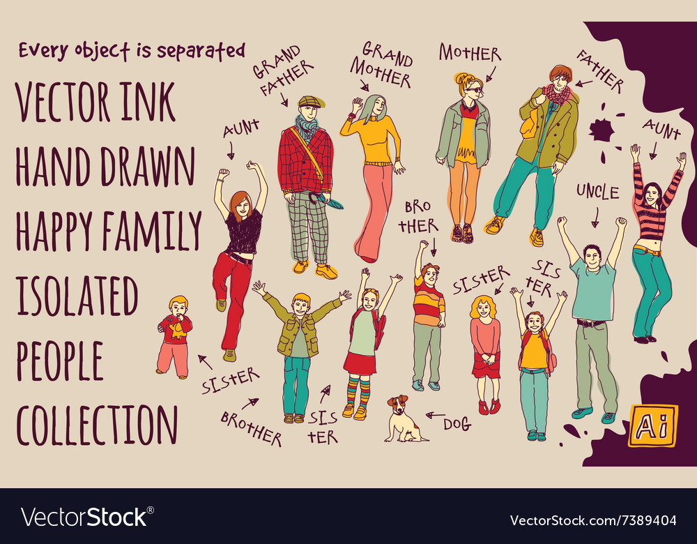 Ink hand drawn family isolated people set vector image
