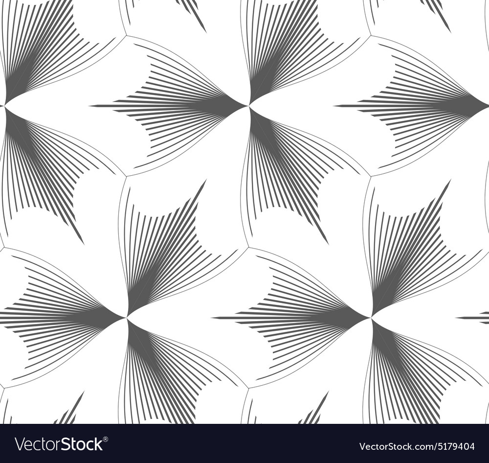 Slim gray hatched pointy trefoils vector image