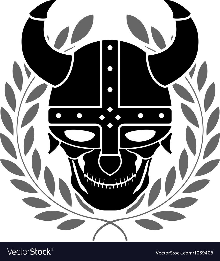 Fantasy helmet with laurel wreath vector image