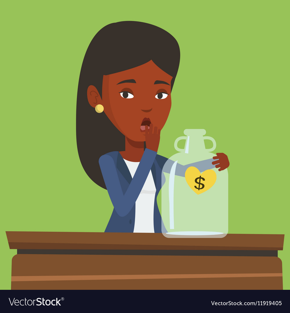 Bankrupt business woman looking at empty money box vector image