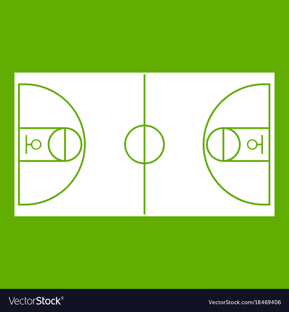 Basketball field icon green vector image