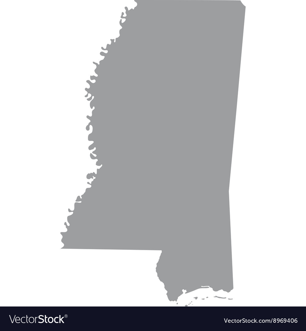 Map Of The US State Of Mississippi Royalty Free Vector Image - Us map of mississippi