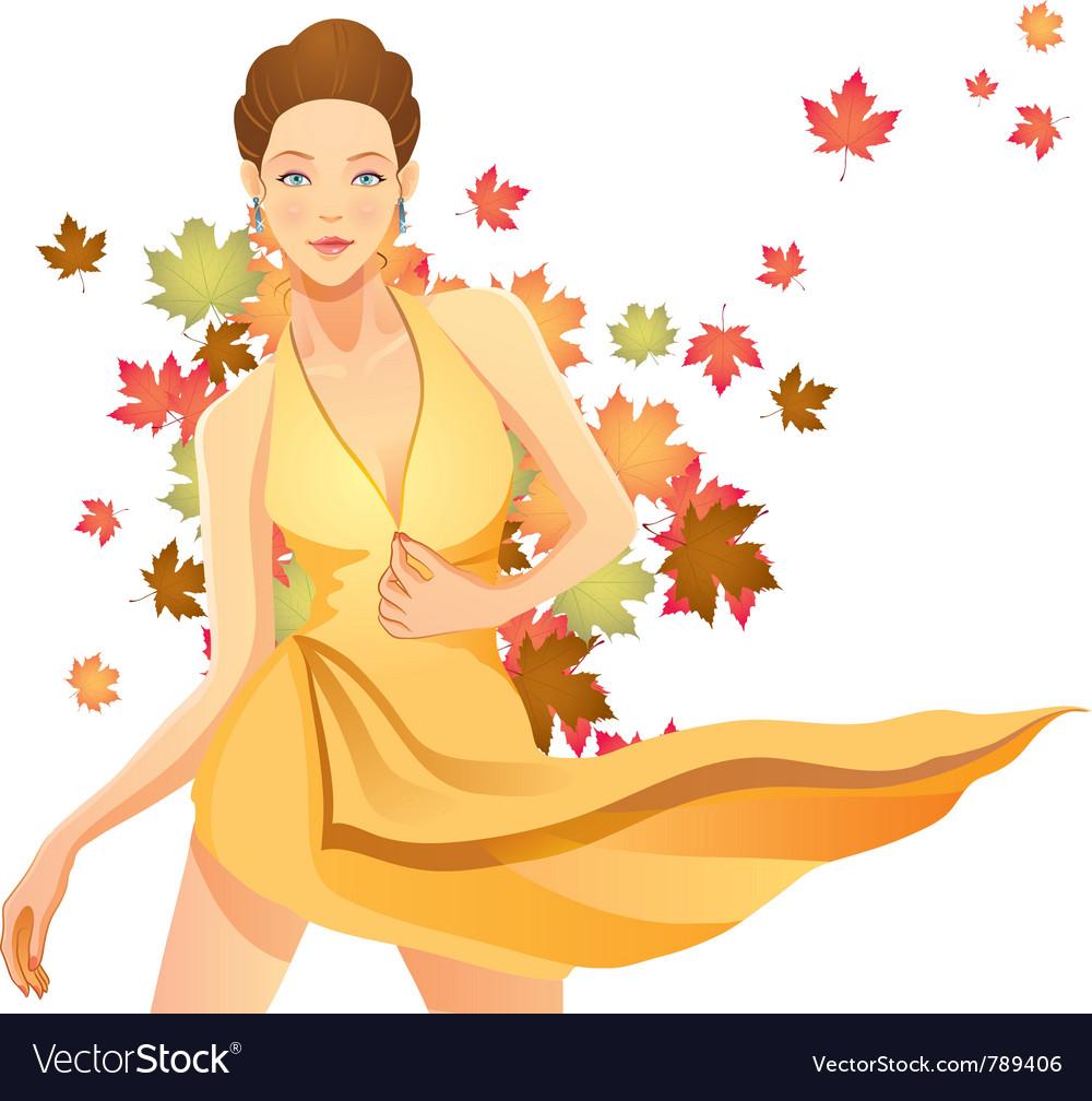 Pretty autumn girl vector image