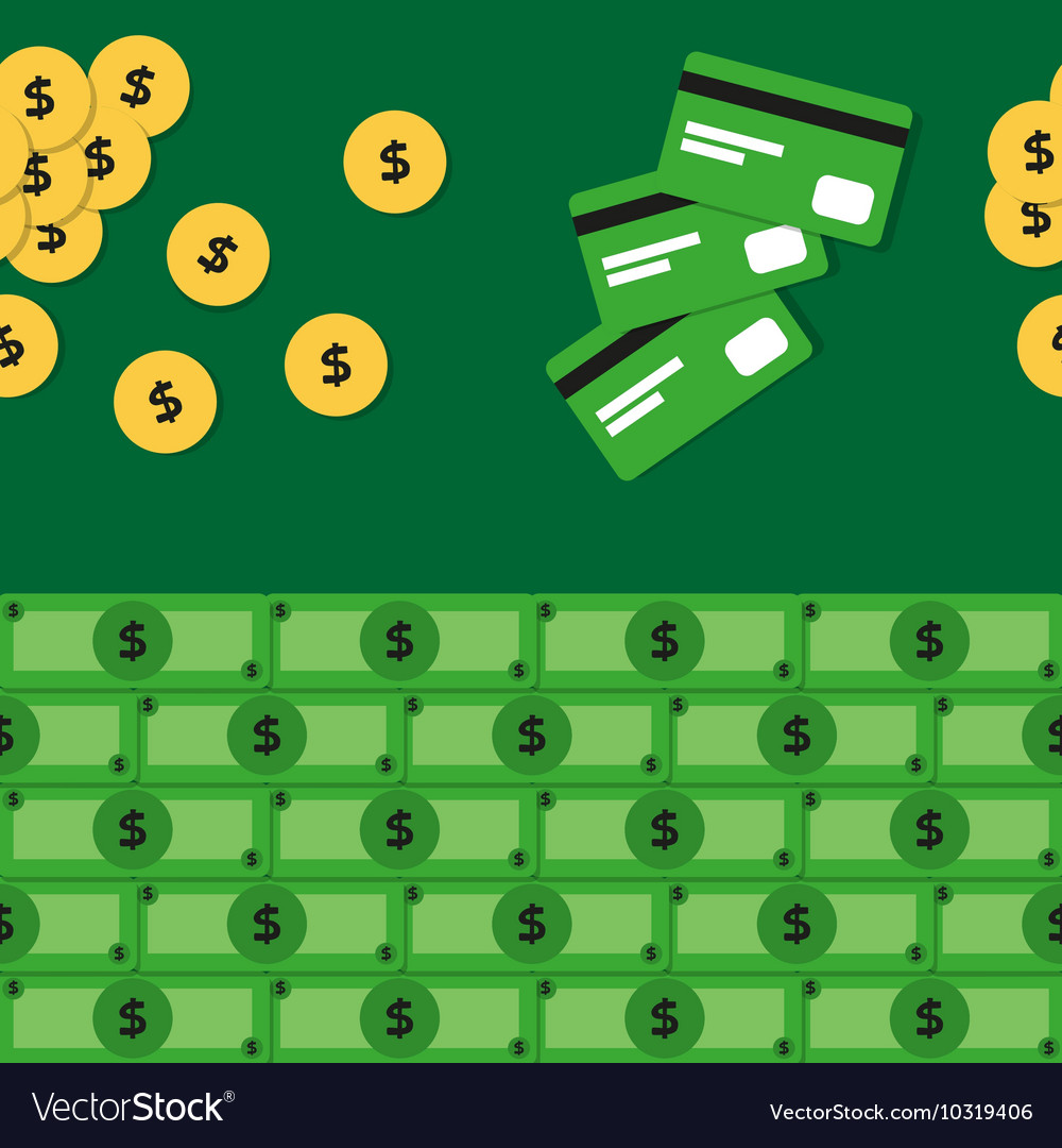 Seamless pattern with money and credit cards vector image