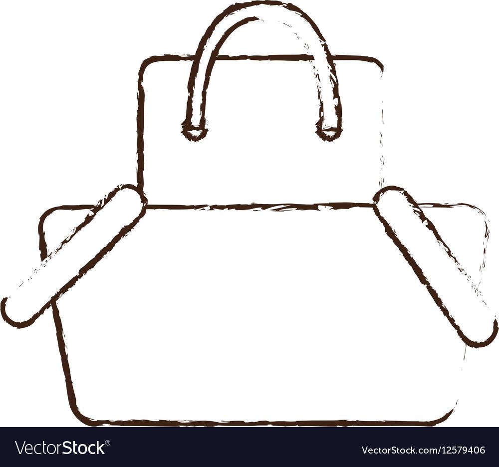 Sketch draw basket shopping bag gift online Vector Image