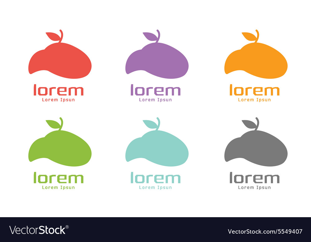 Apple abstract logo template set Green vector image