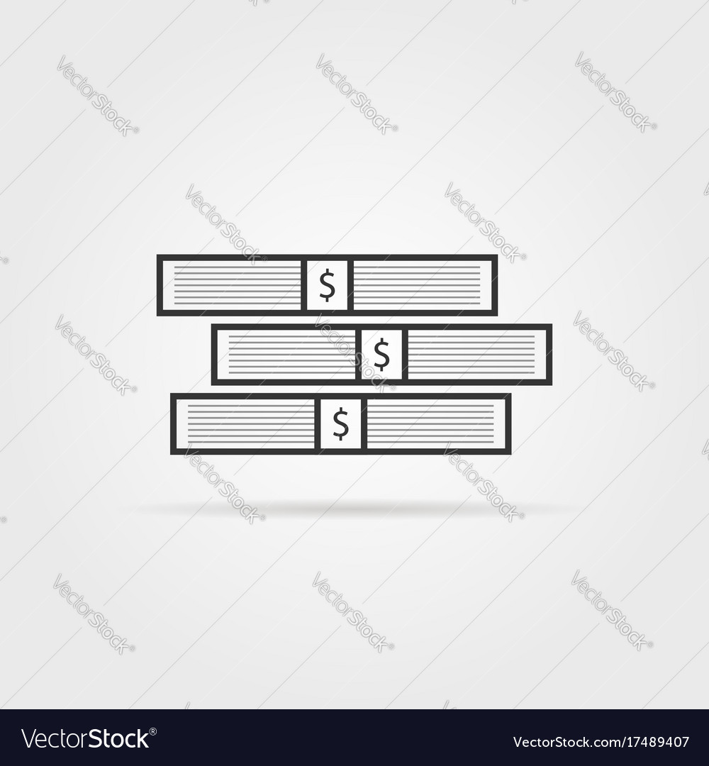 Black stack of money with shadow vector image