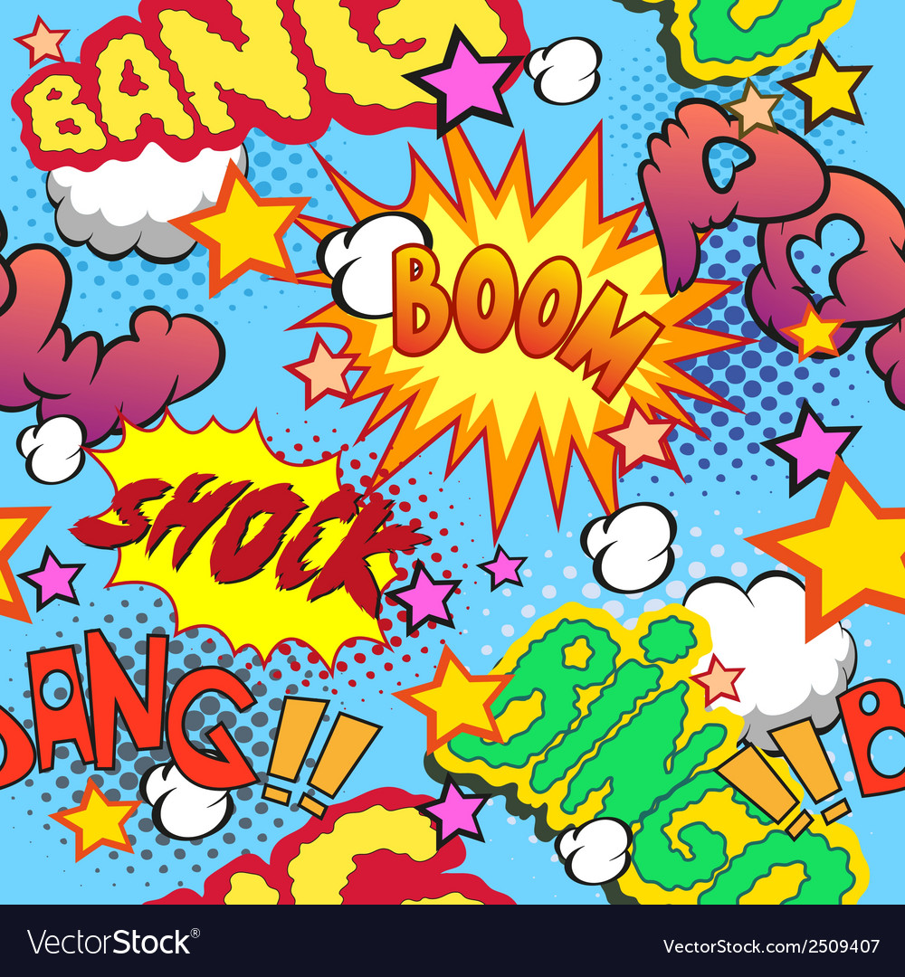 Comic book explosion pattern vector image