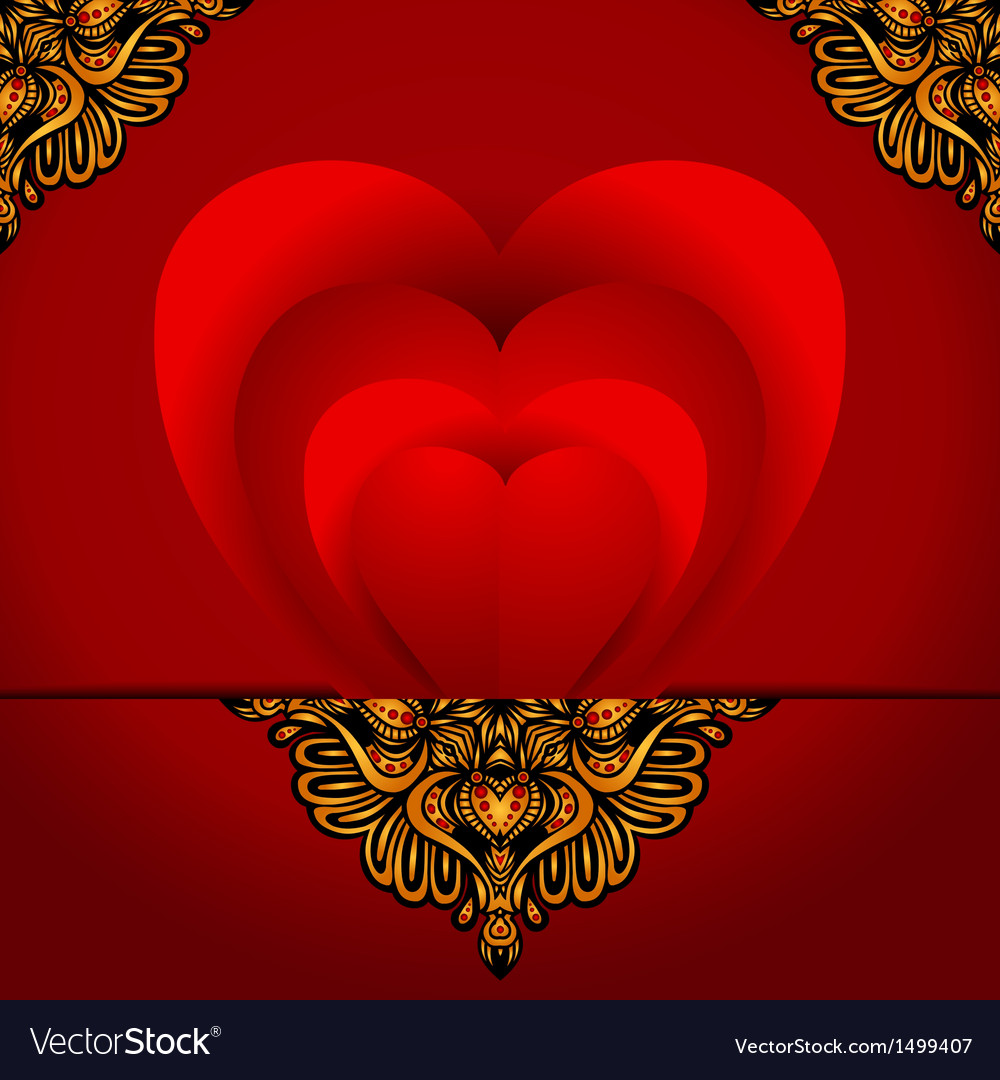 Greeting card love heart vector image