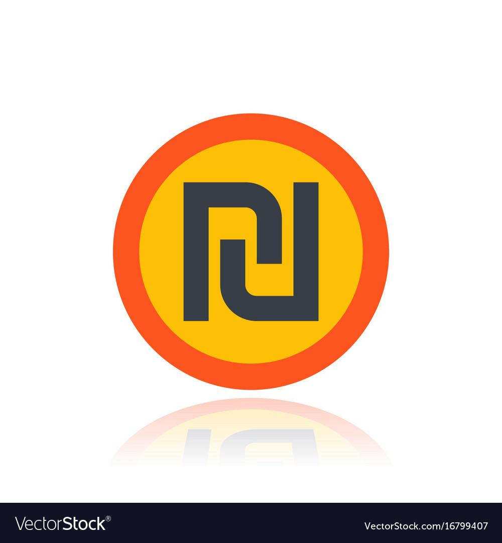 Shekel israeli money symbol over white vector image