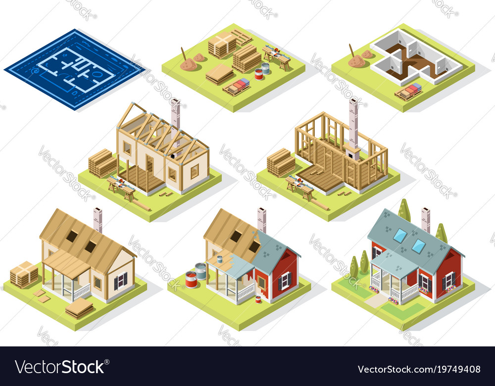 Cement and brick wall isometric building vector image