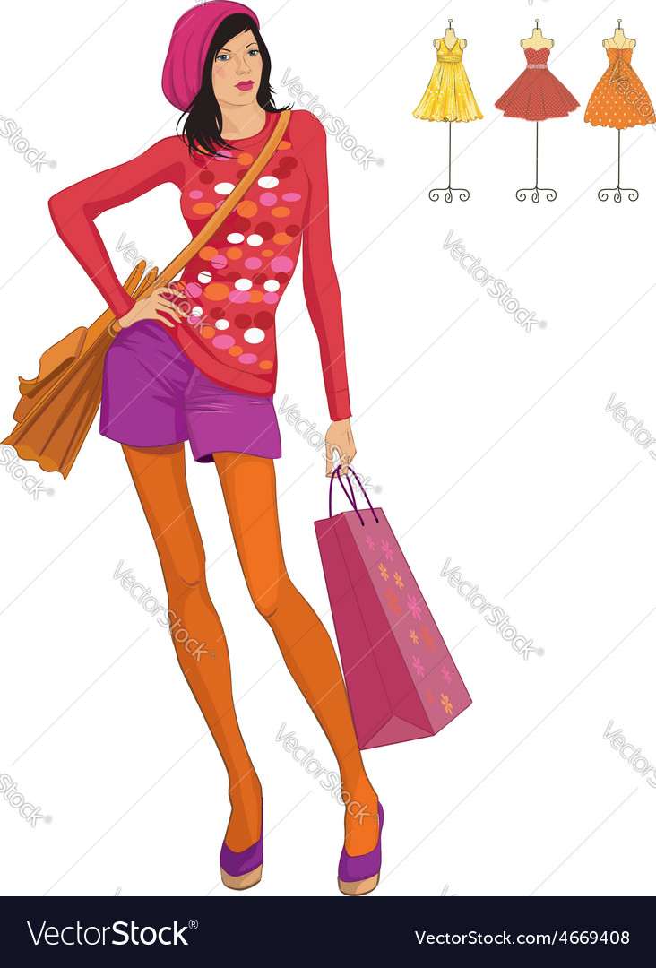 Fashion Girl Royalty Free Vector Image Vectorstock