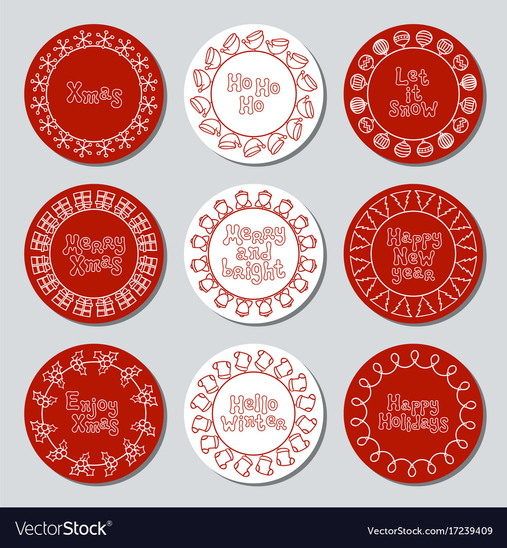 Christmas new year gift round stickers labels and vector image
