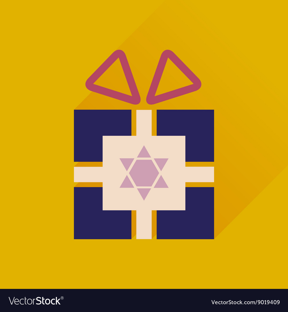 Flat icon with long shadow Hanukkah gift