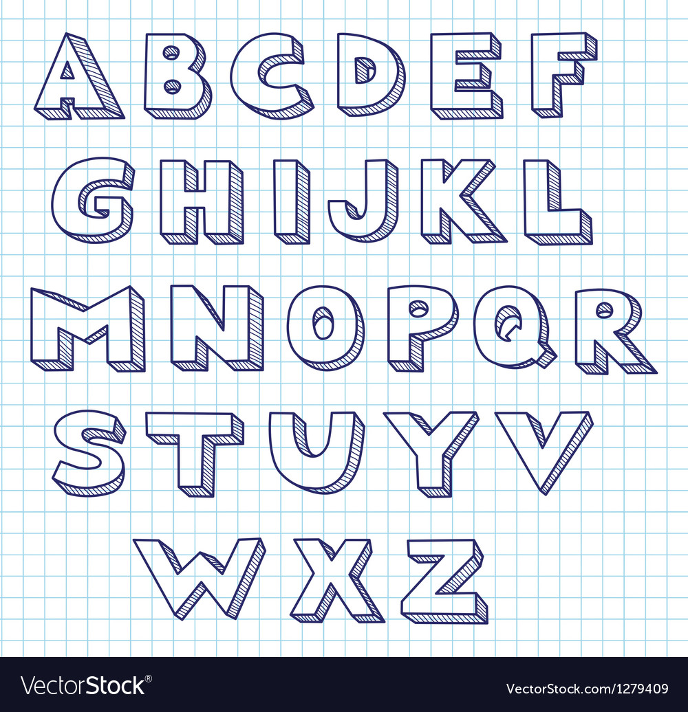 Scribble alphabet vector image