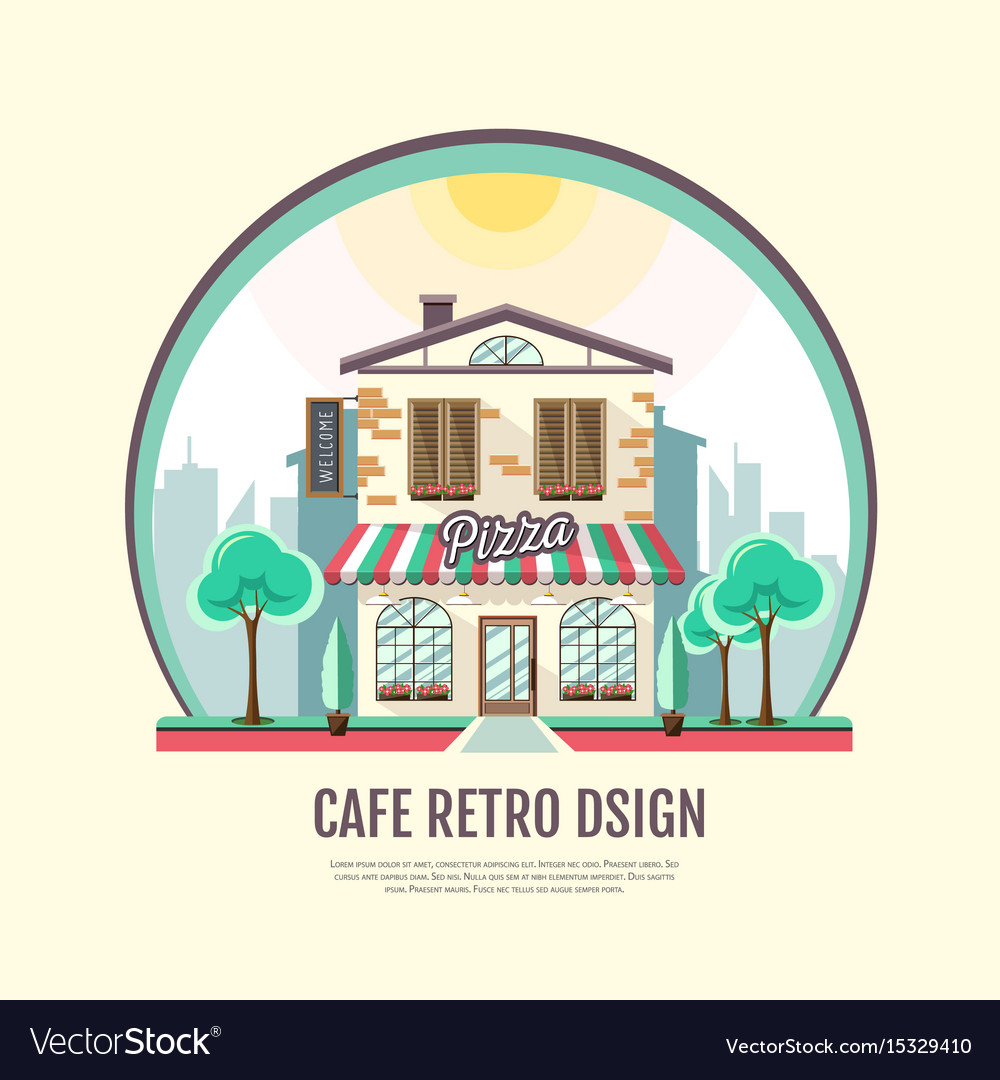 Flat style icon design of pizza cafe building vector image