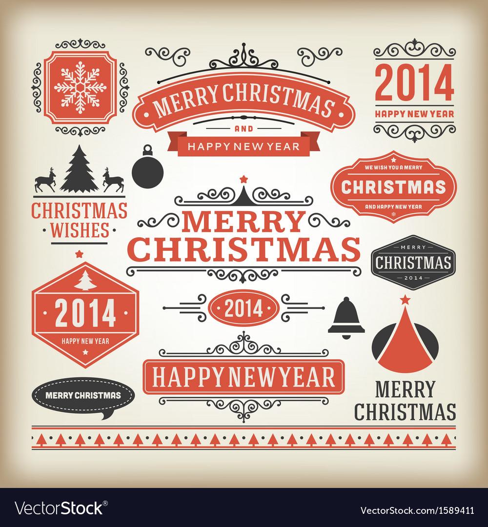 Christmas decoration design elements collec vector image