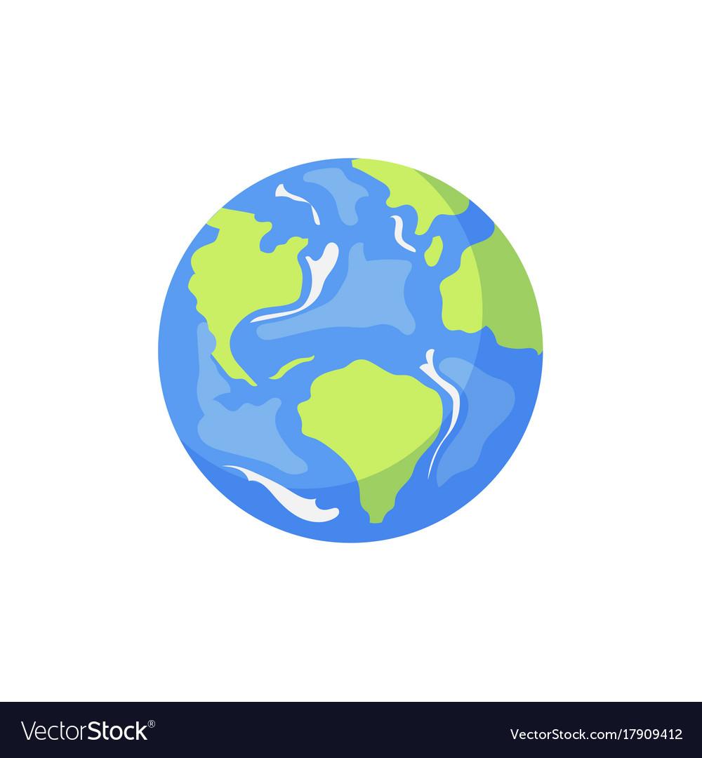 Cartoon flat globe isolated Royalty Free Vector Image