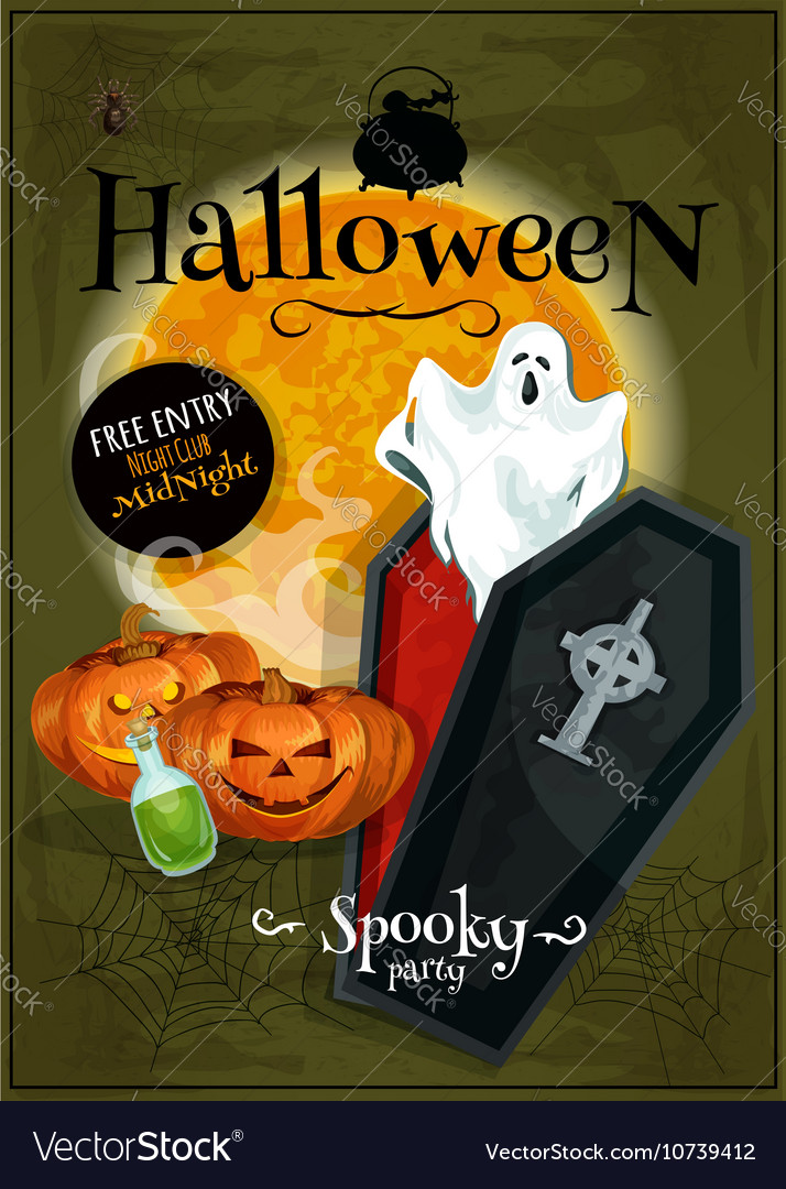 Halloween party club banner with invitation text vector image stopboris Choice Image