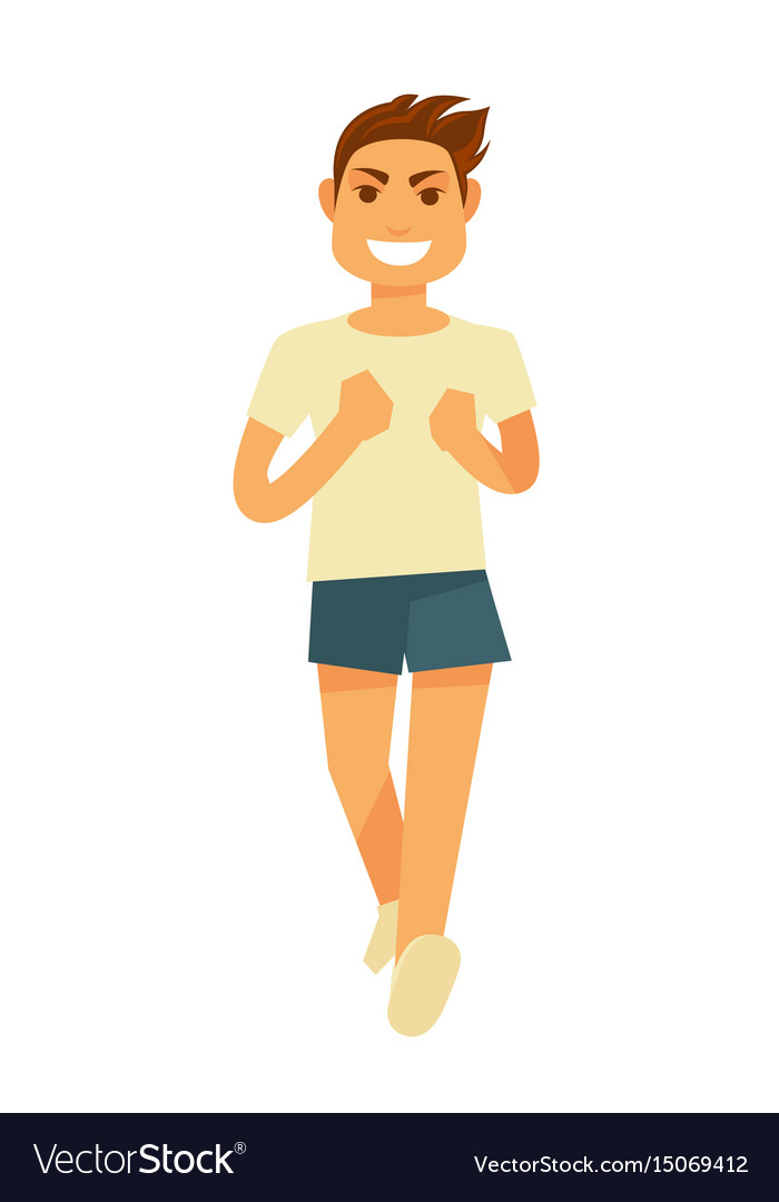Running athletic young man with smile isolated on vector image