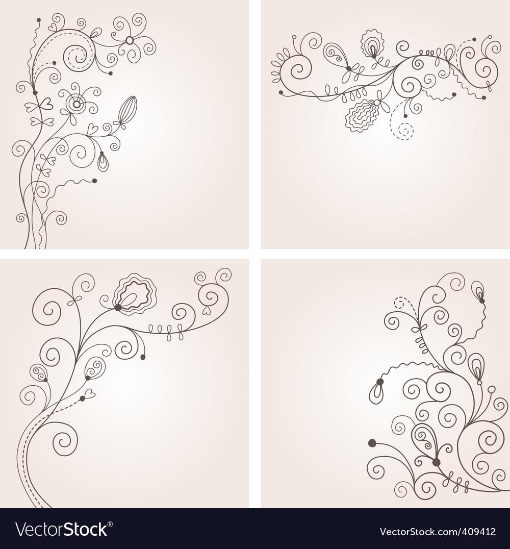 Set of floral illustration vector image
