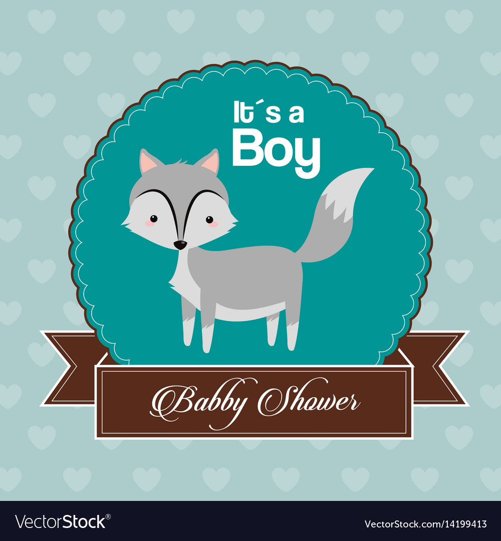 Baby shower card invitation its a boy celebration vector image