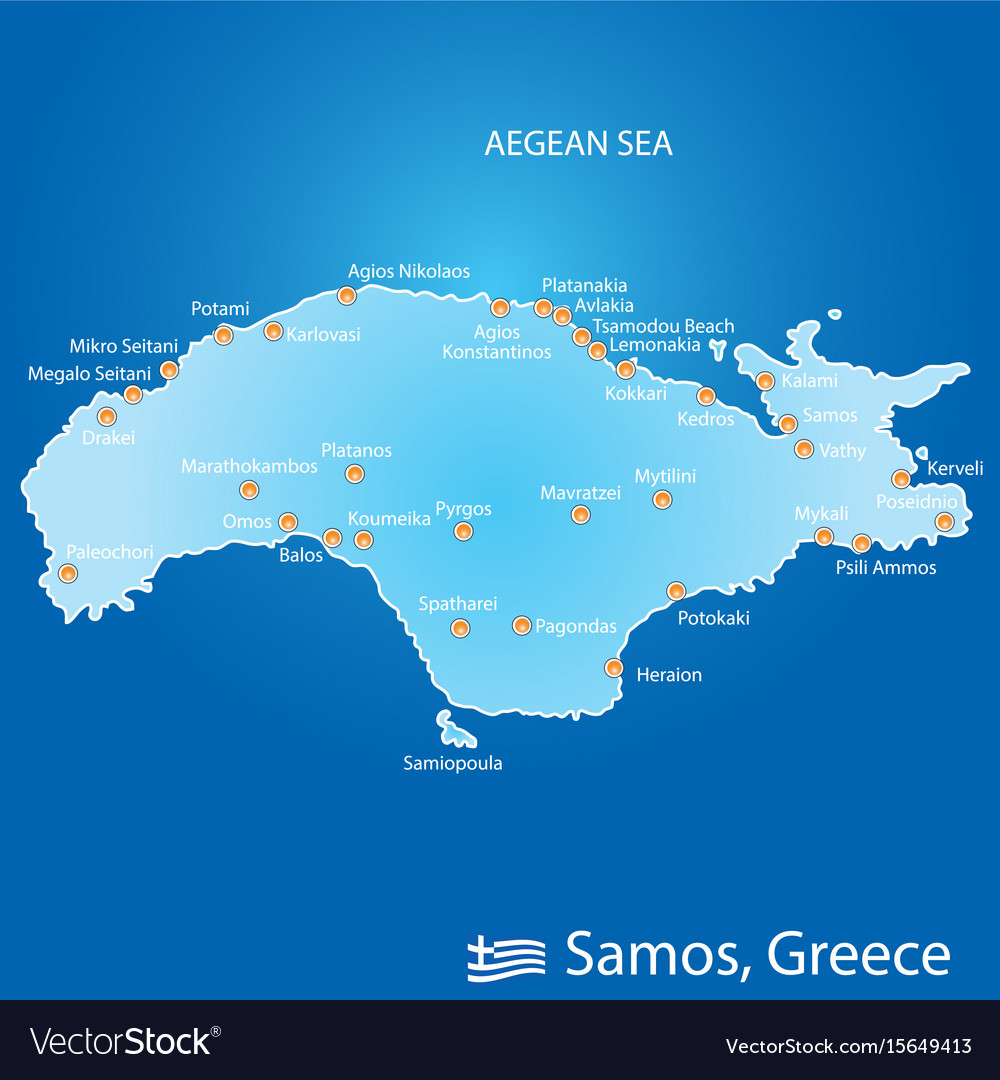 Island of samos in greece map in colorful Vector Image