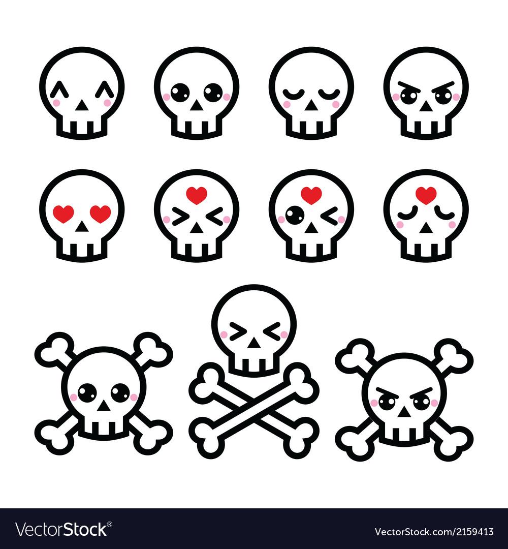 Kawaii cute Halloween skull icons set Royalty Free Vector