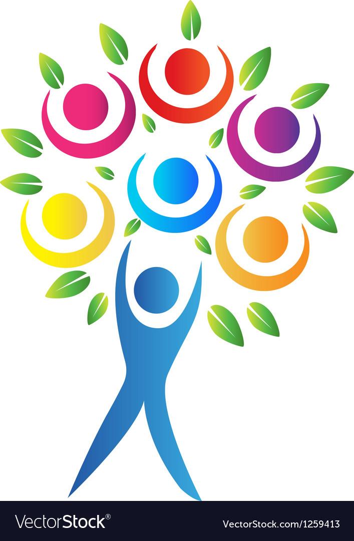 Tree teamwork logo vector image