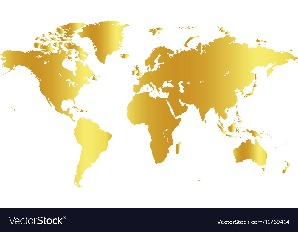 Golden color world map on white background globe vector image gumiabroncs Images
