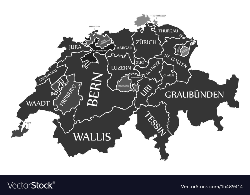Switzerland Map Labelled Black In German Language Vector Image - Switzerland language map