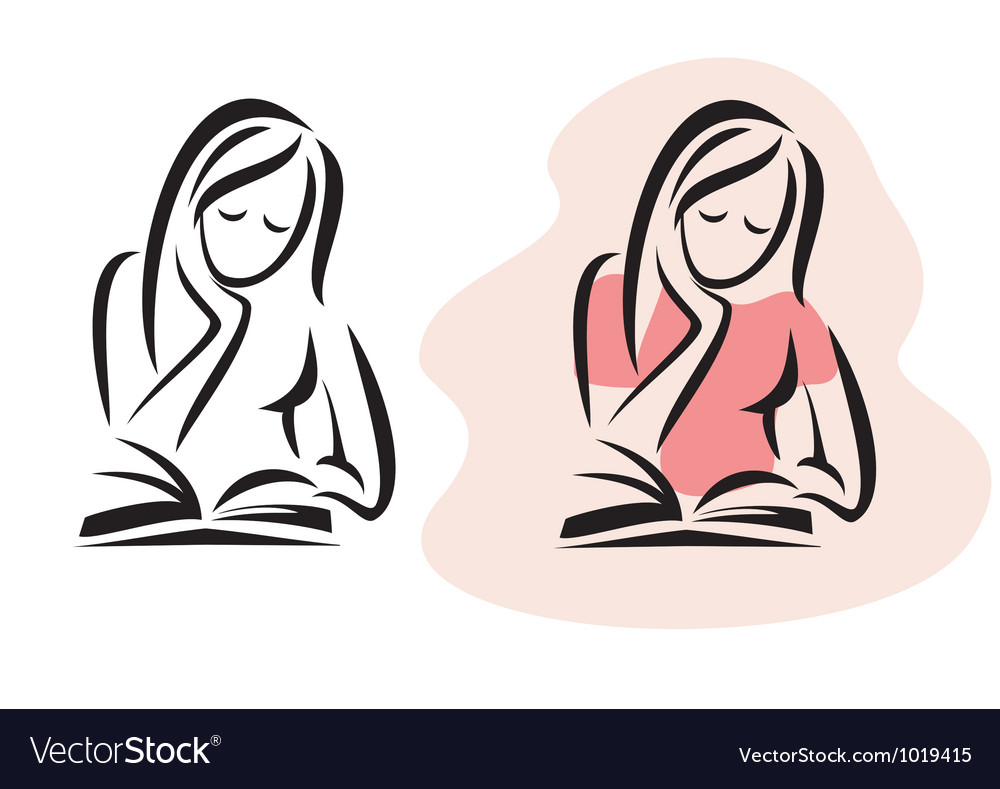 Girl reading the book vector image