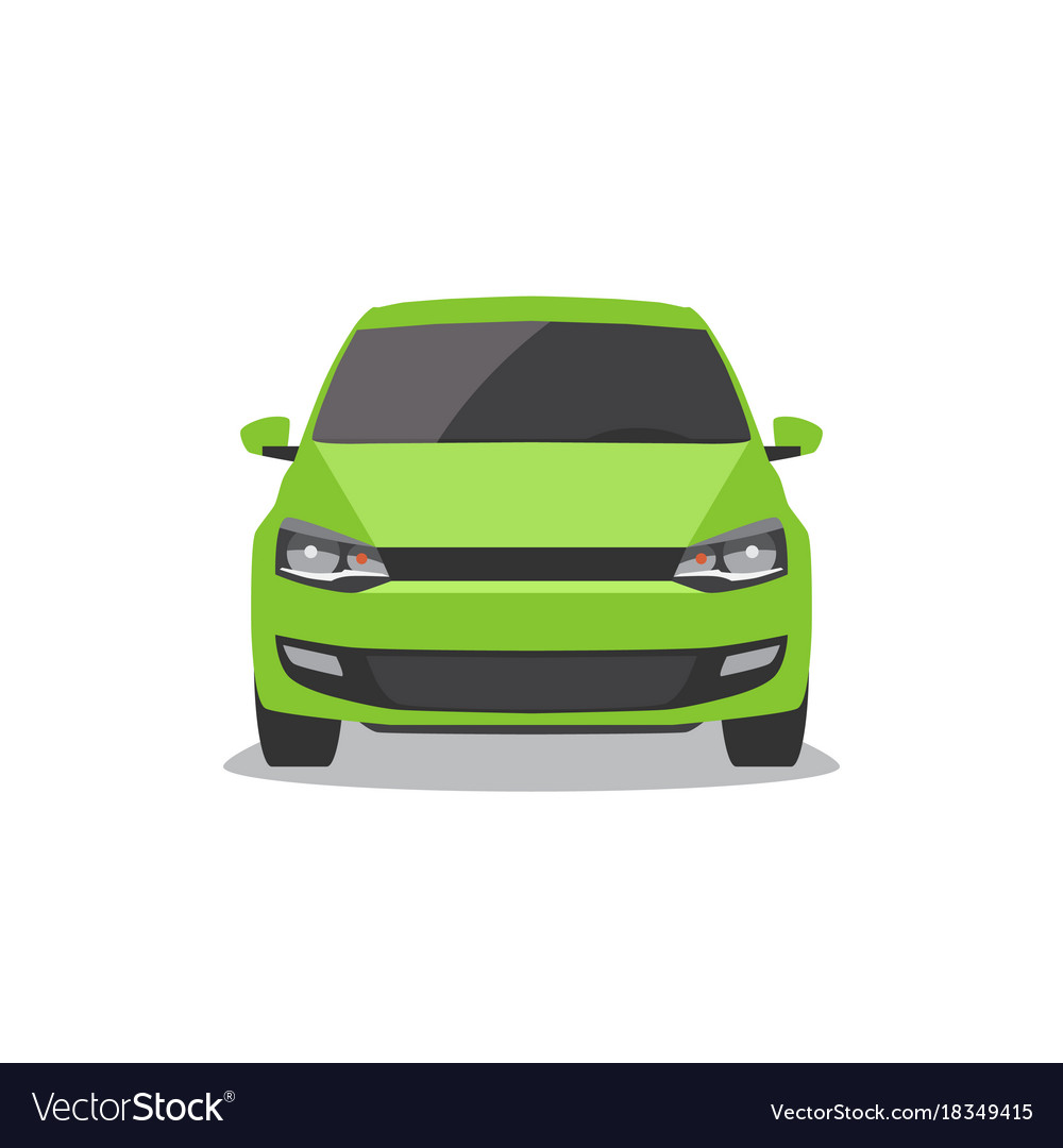 Green car front view vector image
