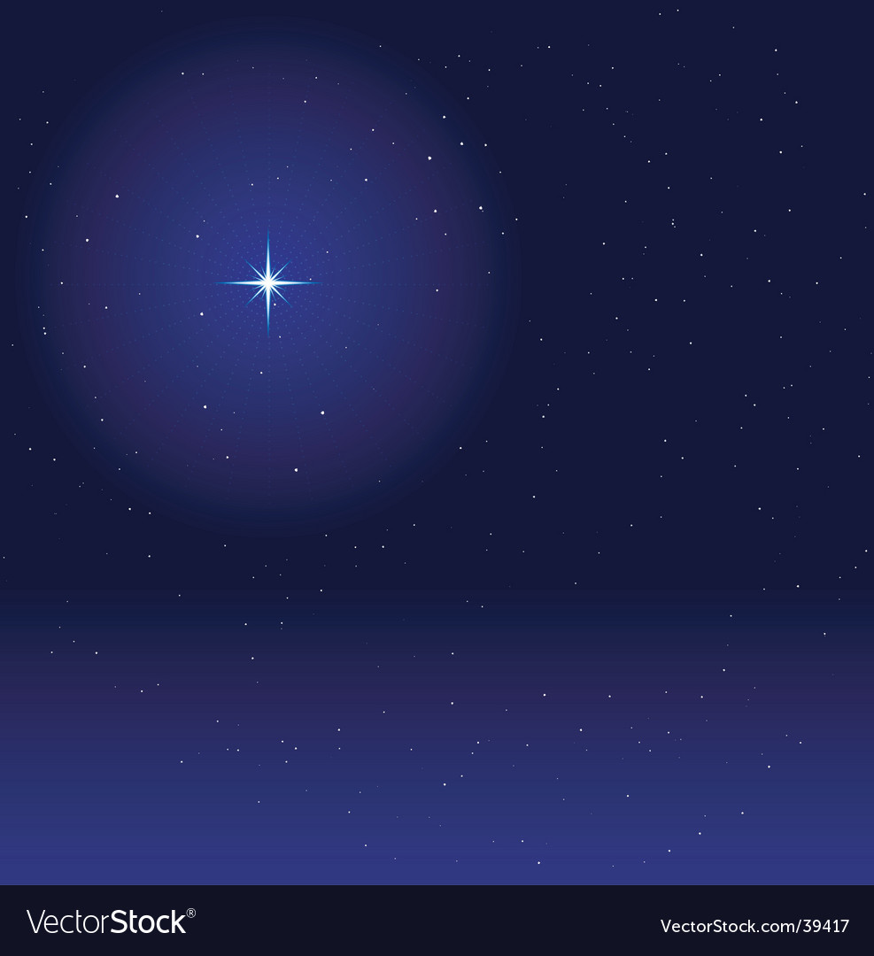 Night sky with glowing star Vector Image