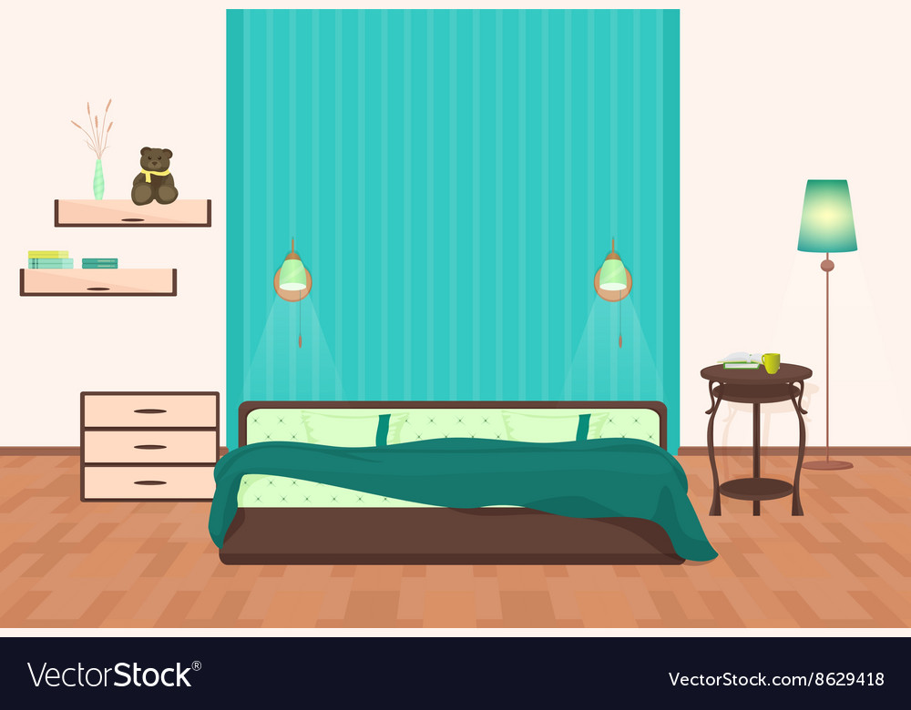 Beautiful modern Bedroom interior cartoon vector image