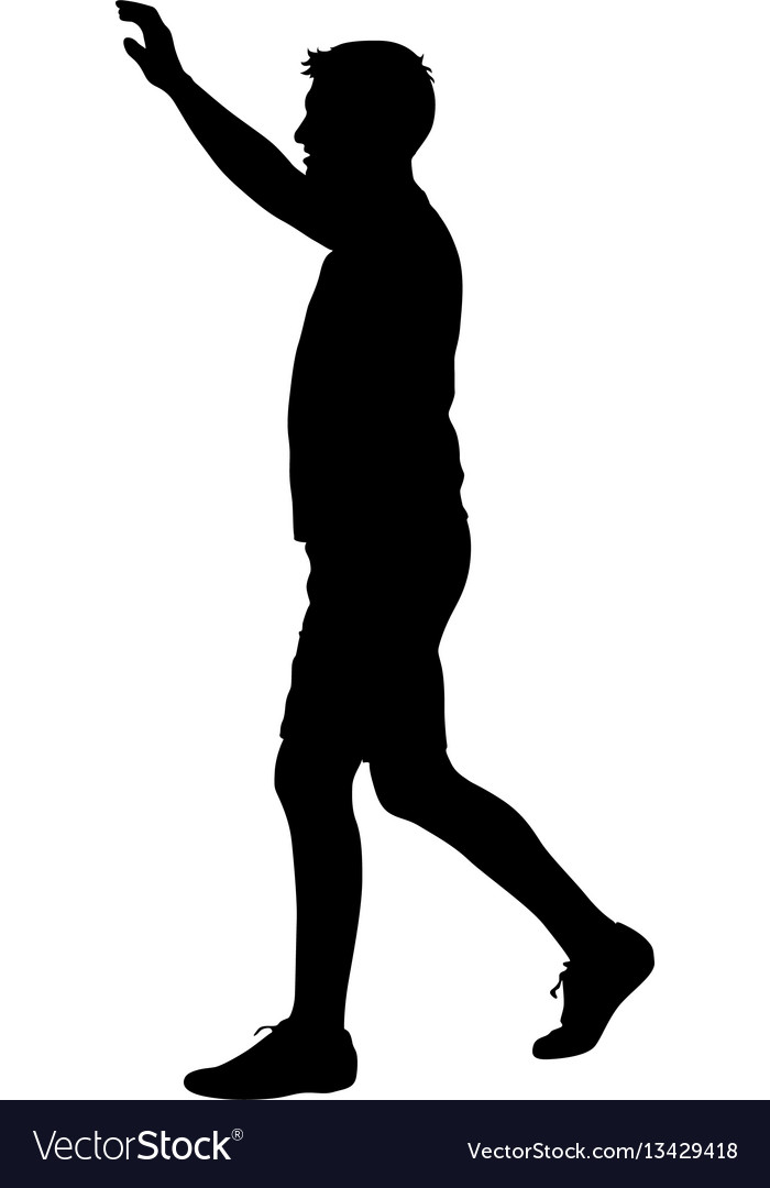 Black silhouettes man with arm raised vector image