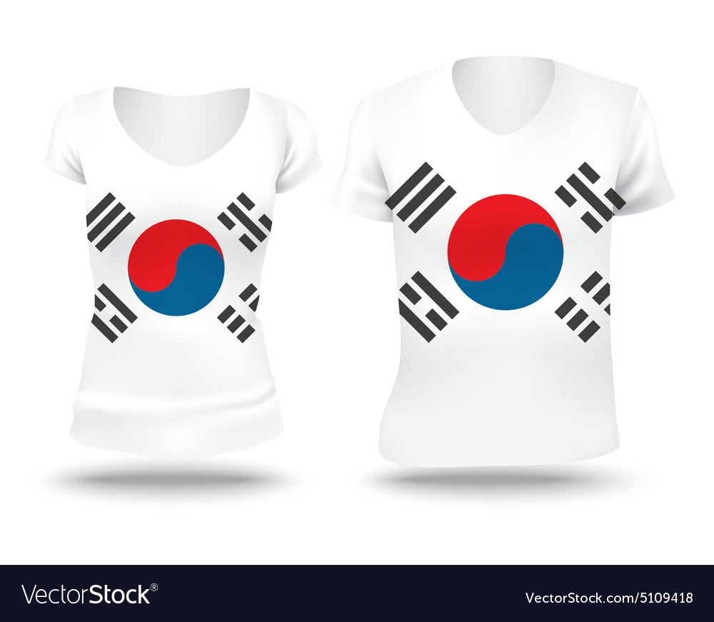 Flag shirt design of South Korea vector image