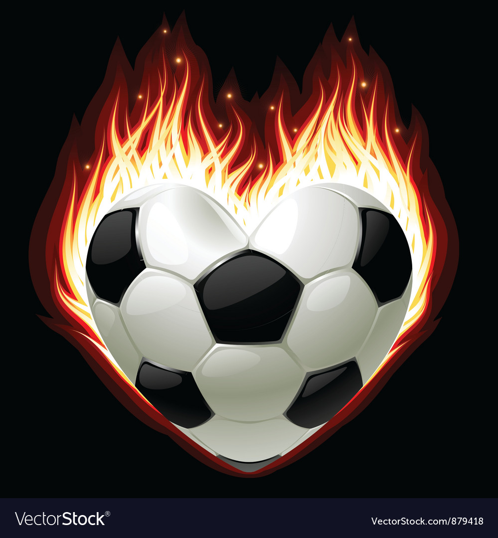 Football on fire vector image