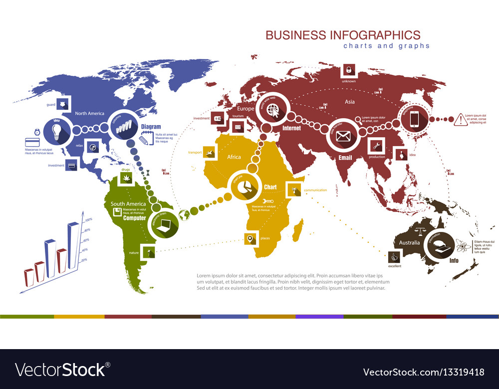 Infographics with world map and charts vector image