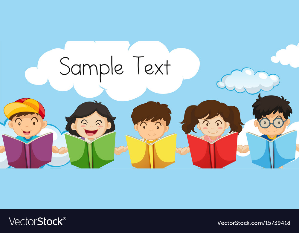 Sample text template with kids reading books vector image