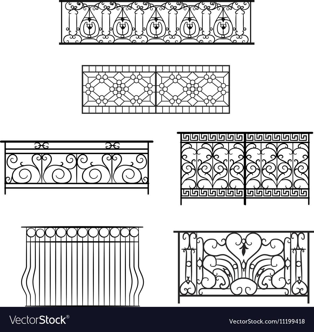 Types of balcony railing Royalty Free Vector Image