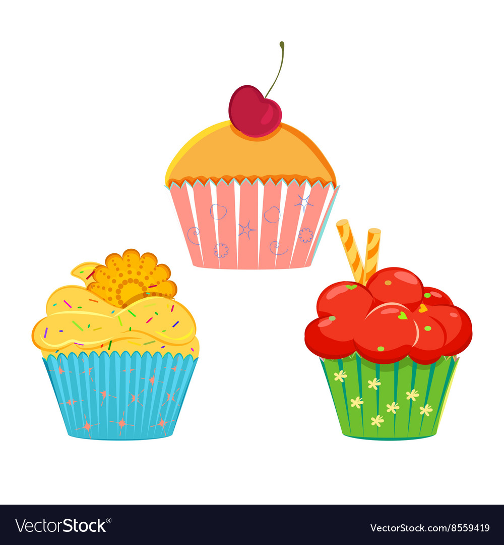 Collection of cupcakes vector image
