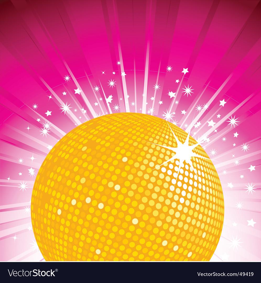 Orange disco ball party background vector image