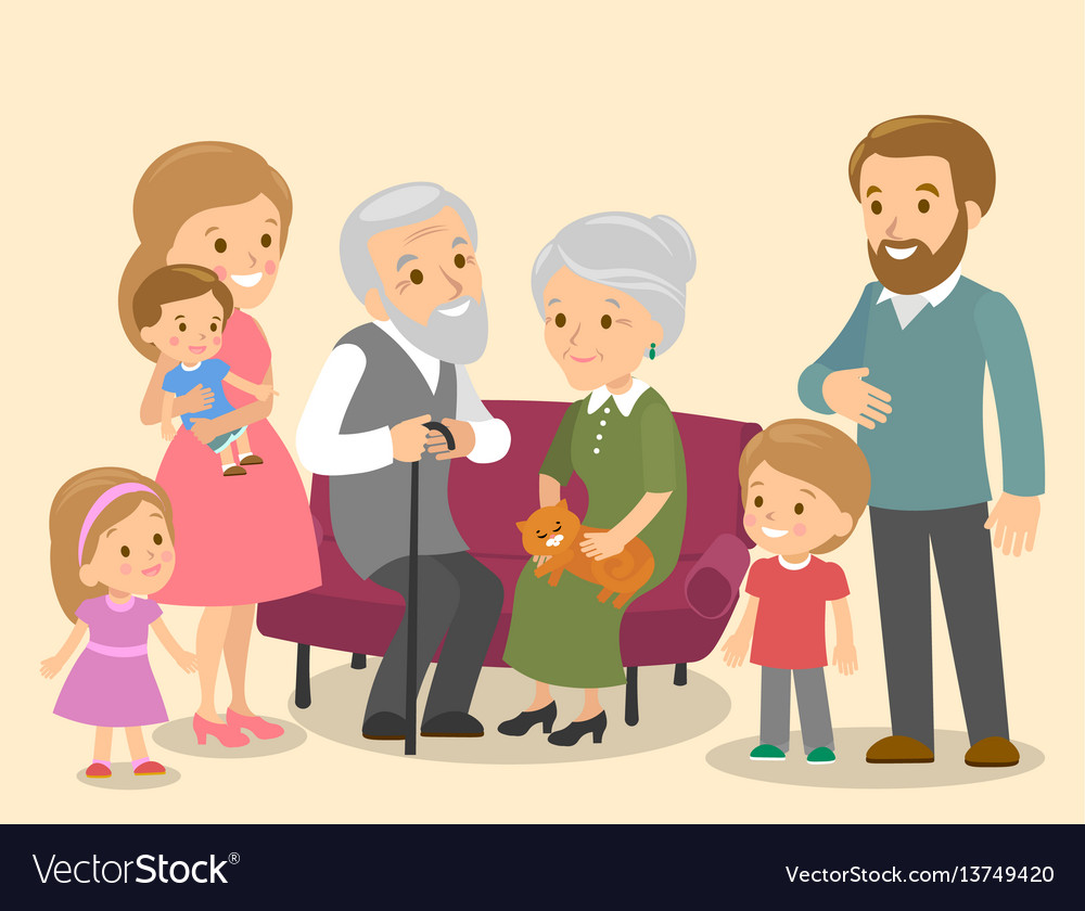 Big family together of a flat vector image