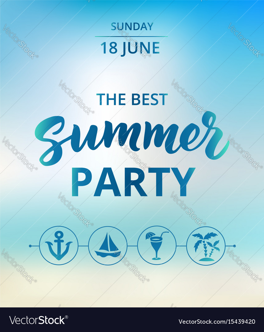 Summer party text typography with brush lettering vector image