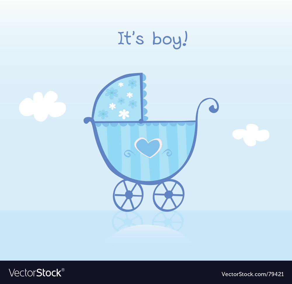 Pram for boy vector image