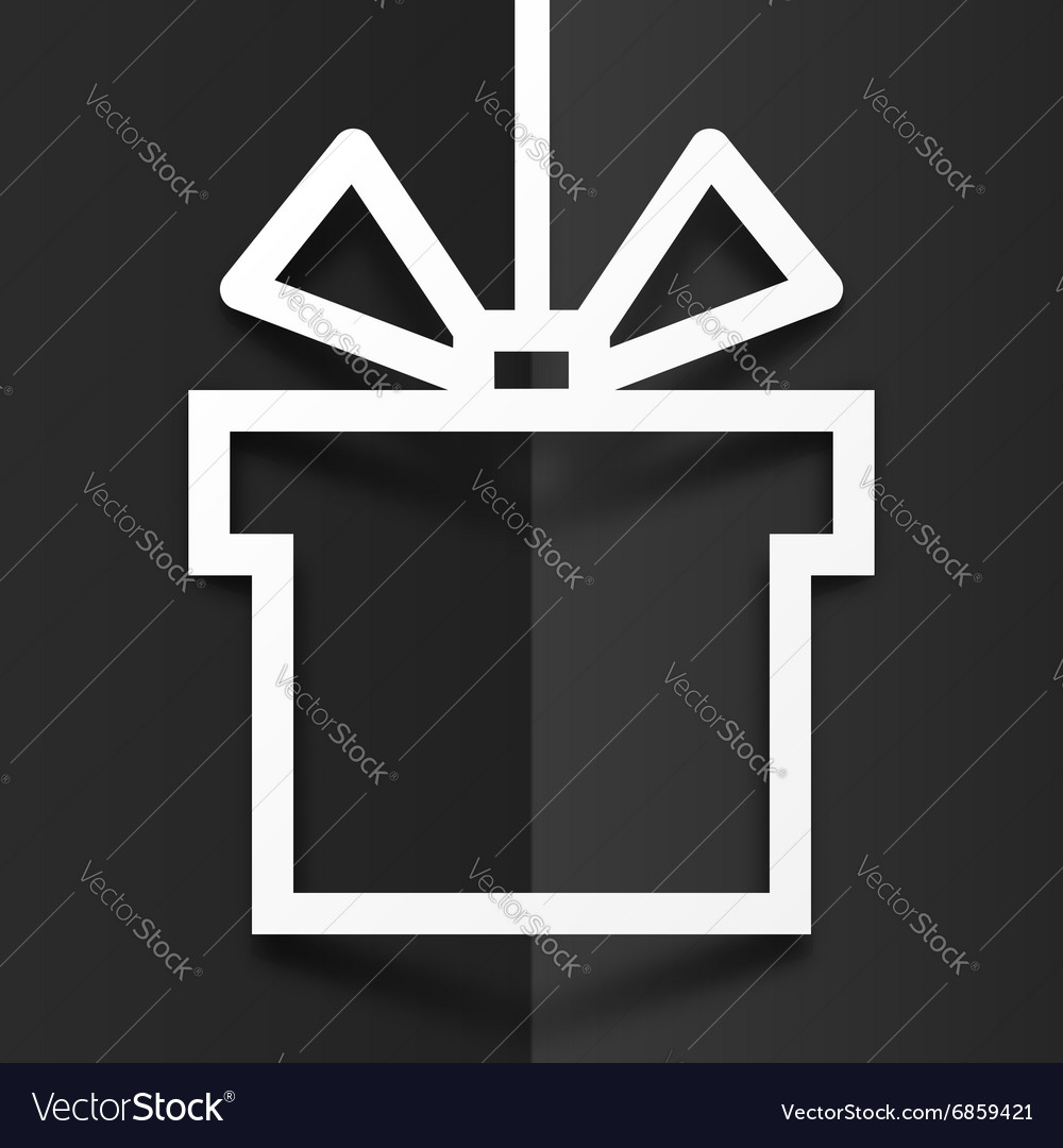 White gift box line silhouette frame with shadow vector image