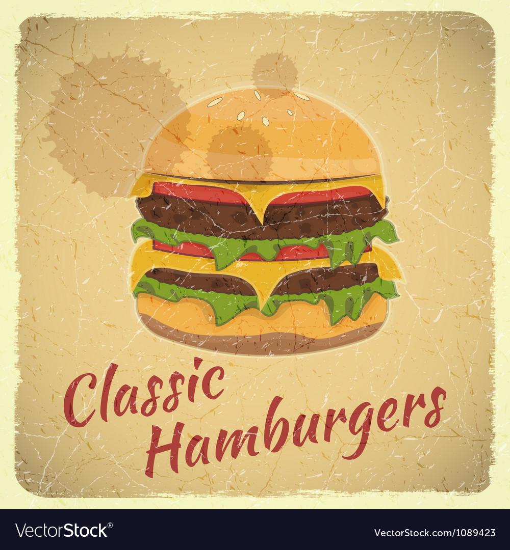 Grunge Cover for Hamburgers Menu vector image