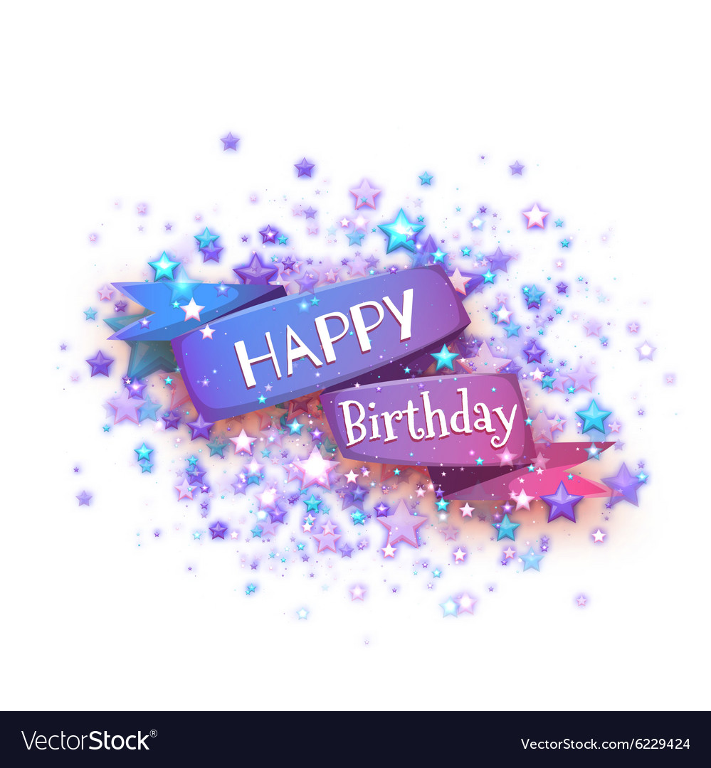 Blue ribbon with Happy birthday title vector image