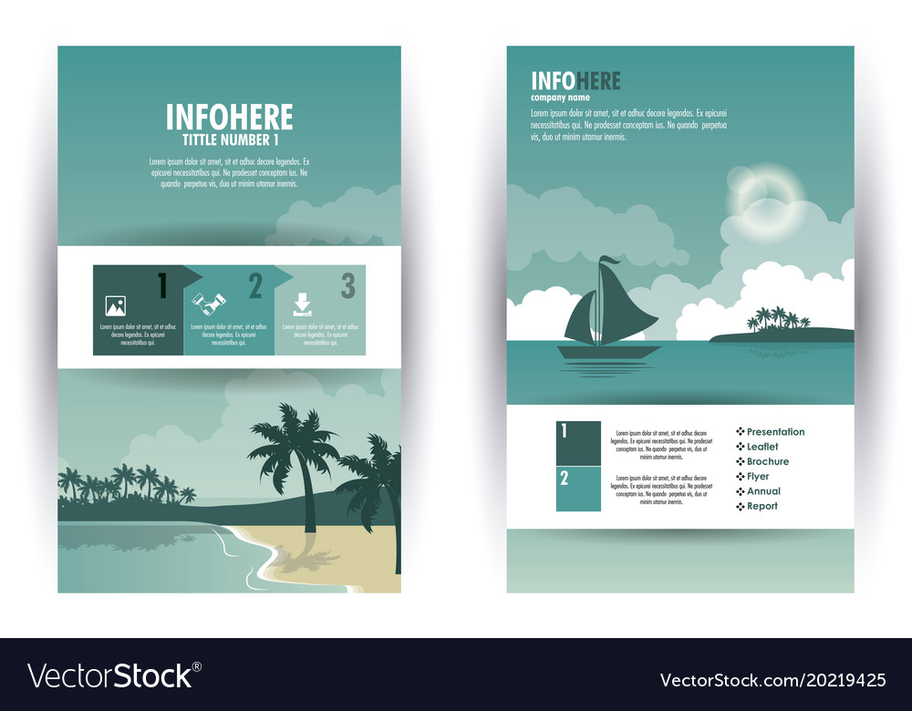 Beach And Travel Brochure Infographic Royalty Free Vector